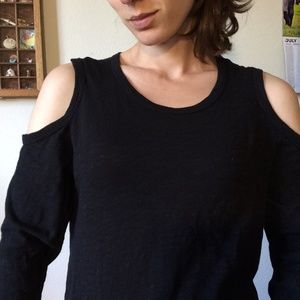 Wilt Tops - Wilt Black Cotton Cold Shoulder Basic Comfy Blouse